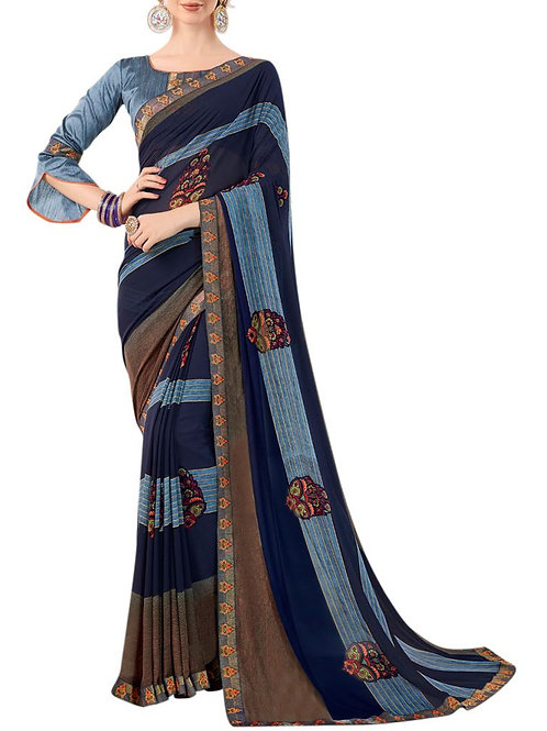 Attractive Navy Blue Color Embroidery Designs For Sarees