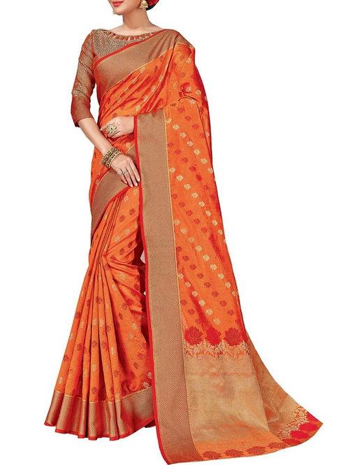 Moving Orange Color Best Designer Sarees Online Shopping