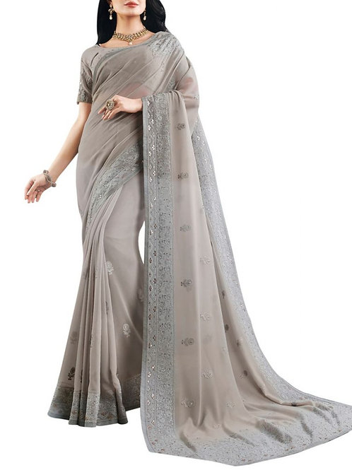 Magnetic Grey Bollywood Sarees Online
