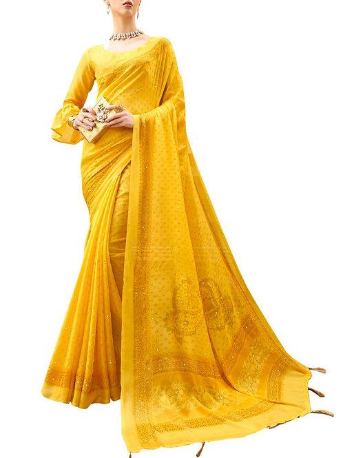 Bravery Mustard Color Designer Saree