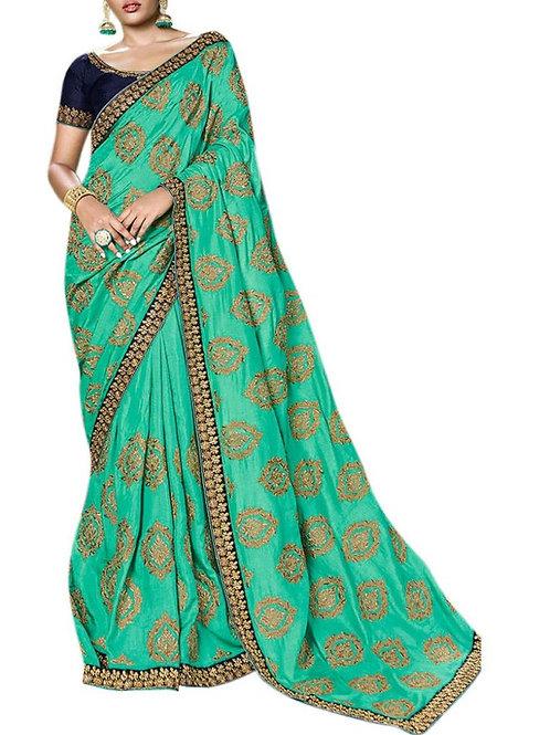 Awe-Inspiring Sea Green Designer Party Wear Sarees