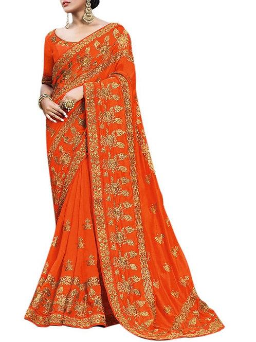 Hair-Raising Orange New Fashion Saree