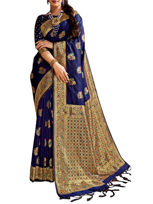 Moving Navy Blue Best Designer Sarees Online