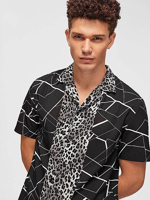Soft Cotton Adoring Leopard Panel Geo Shirt