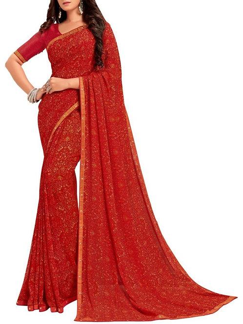 Astonishing Red Georgette Saree