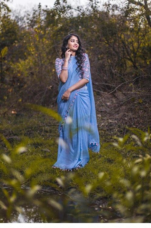 Heavy Blue Color Fancy Indian Saree