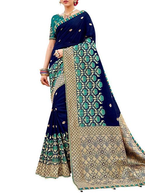 Bright Dark Blue Soft Silk Sarees