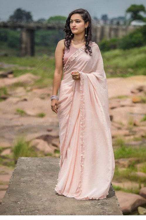 Flaunt Pearl Embroidery Pale Peach Saree