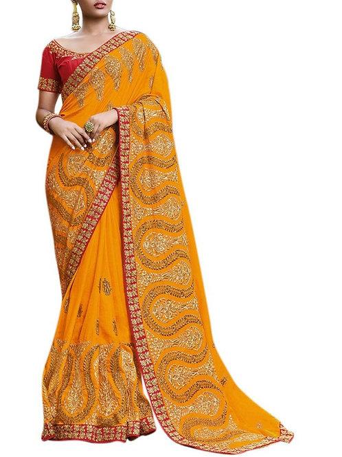 Magnificent Musturd Yellow Buy Designer Sarees Online