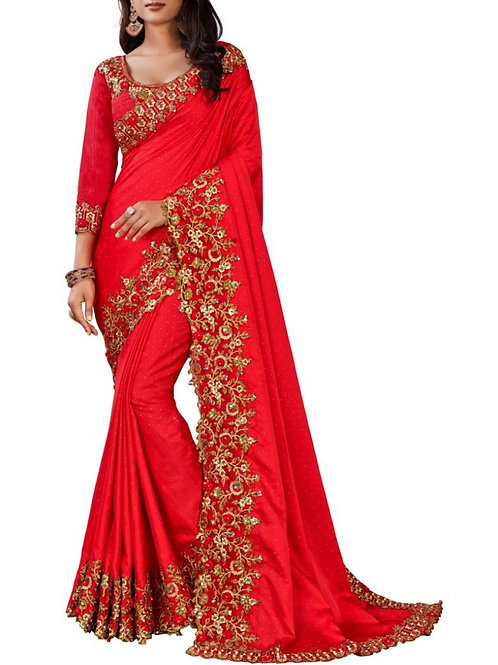 Excellent Red Indian Party Wear Sarees