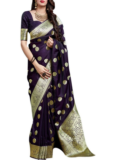 Mind-Blowing Purple Pure Silk Saree