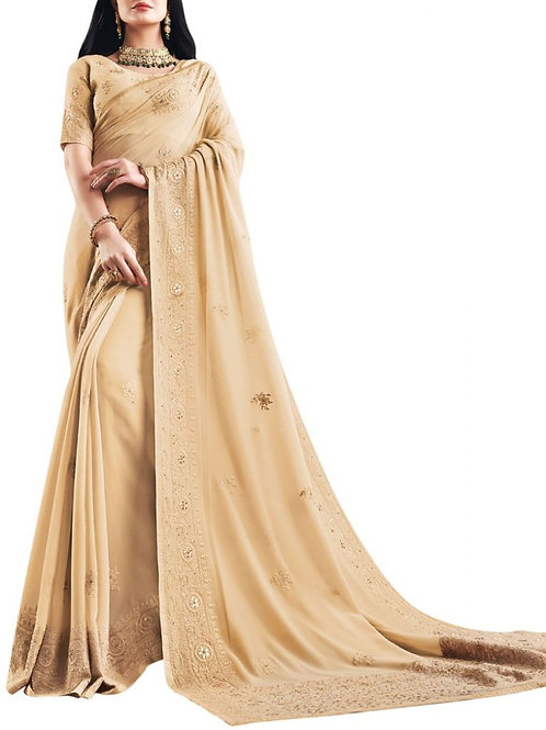 Lovely Cream Designer Party Wear Sarees With Price