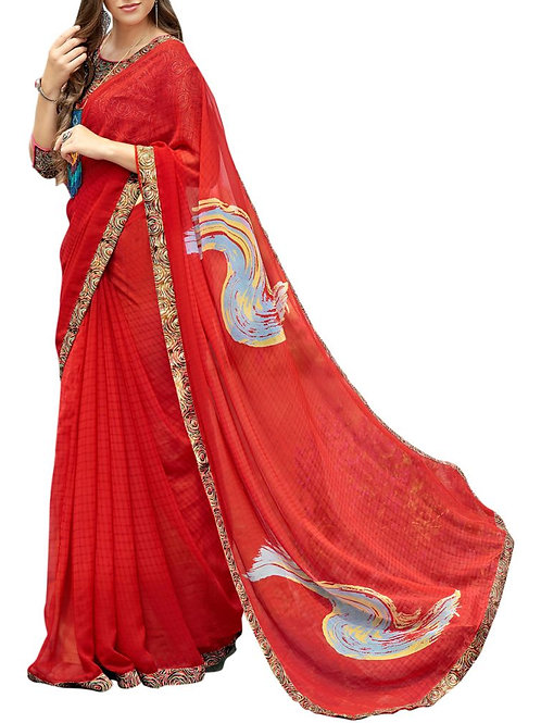 Inviting Red Color Fancy Saree With Price