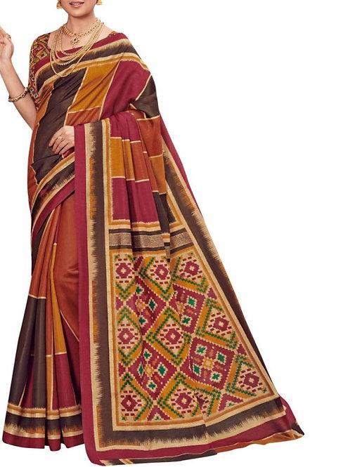 Gratifying Brown Art Silk Saree
