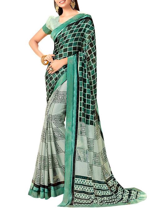 Attractive Green Color Indian Saree