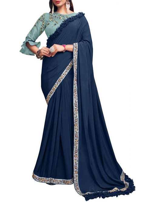Charming Royal Blue Best Online Saree Shopping Sites