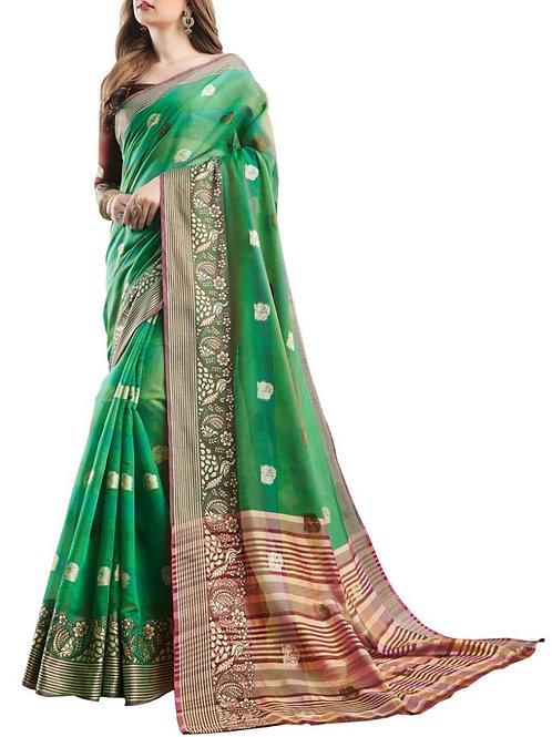 Enchanting Green Color Saree Bazaar