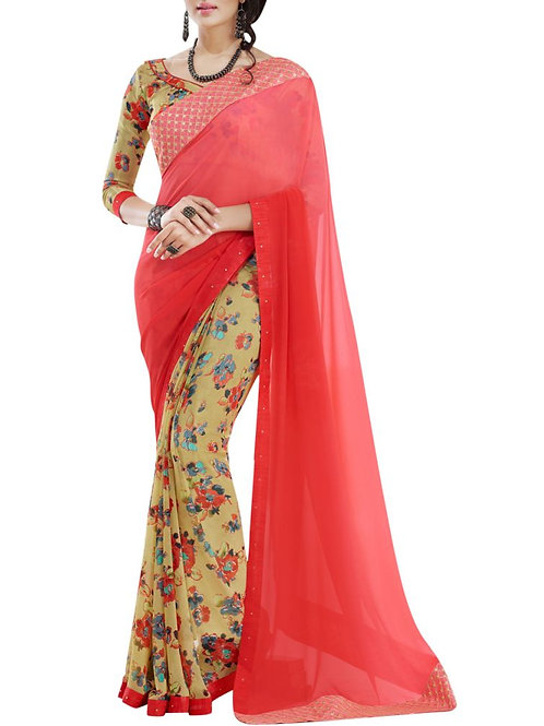 Alluring Red Color Saree Shopping