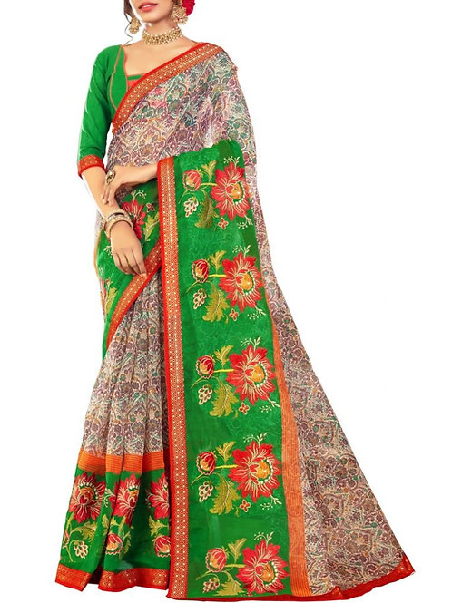 Fabulous Off White And Green Color Best Sarees In India