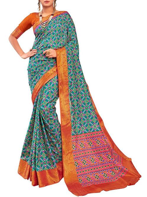 Amazing Rama Color Pattu Sarees Online