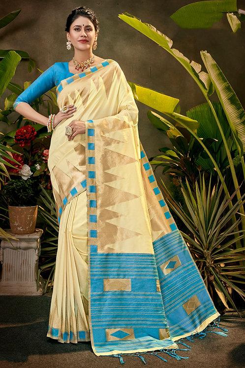 Cream Art Silk Saree Festive Wear