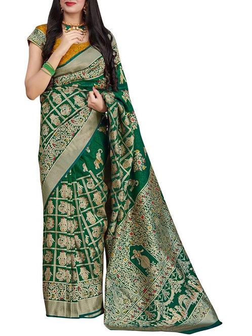 Hair-Raising Green Latest Saree Design
