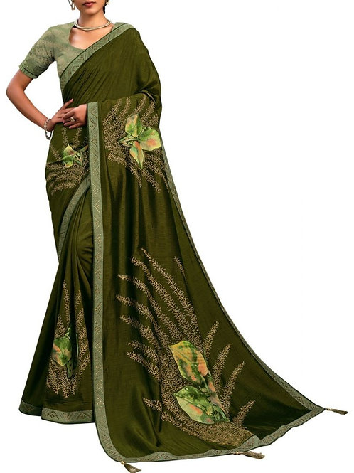 Excellent Olive Green Beautiful Sarees Online