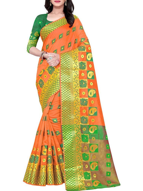 Dazzling Dark Orange Latest Designer Party Wear Sarees