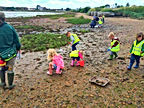 Little Bears Forest Preschool - Milton Locks - exploring the seashore with H&IoW Wildlife Trust