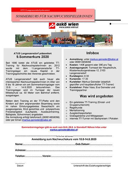Langenzersdorfer Sommertrainingslager 2020 Kinder & Jugendliche