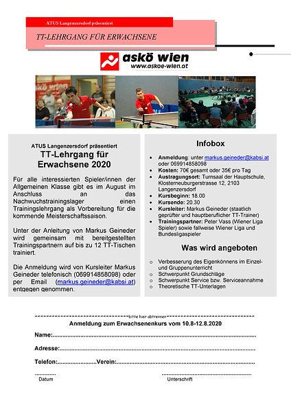 Langenzersdorfer TT-Lehrgang 2020 Erwachsene