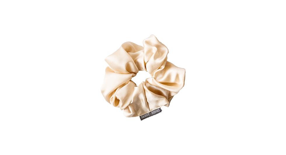 Silk scrunchie beige