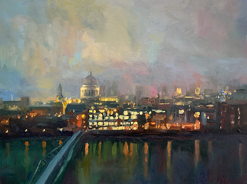 "Thames Evening Fog 16x12"""