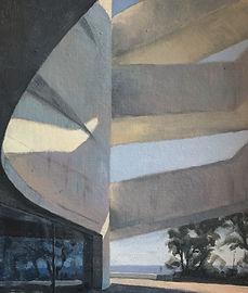 Original artwork/painting by James Decent depicting museum