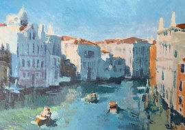 Original art/painting by James Decentdepicting Venice canal scene including boats