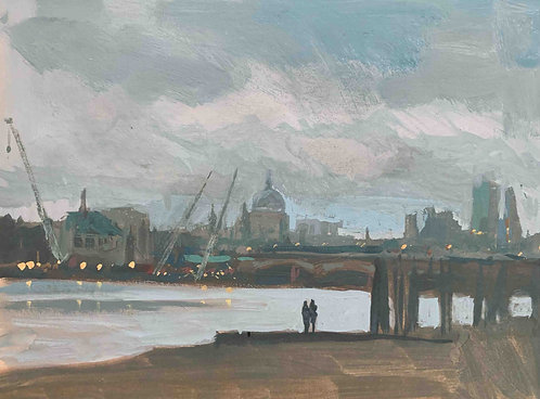 """Thames winter early evening 8x6"""""""