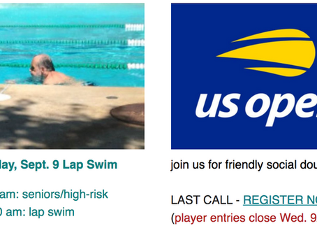Wed. Lap Swim & Last Call: US Open