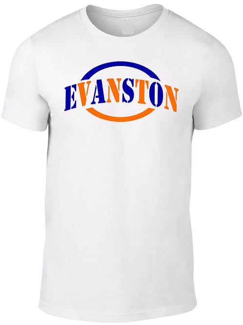 EVANSTON -Orange & Navy Circle on White Tee