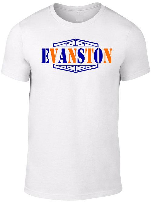 EVANSTON -Orange & Navy on White Tee