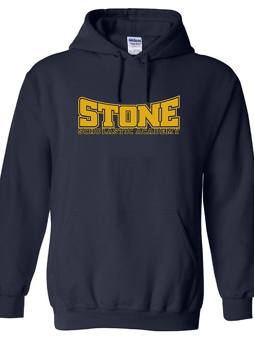 Navy Hoodie with Stone Text logo