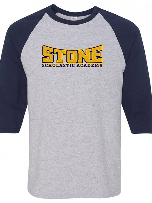 STONE Navy Sleeve and Grey Baseball Tee