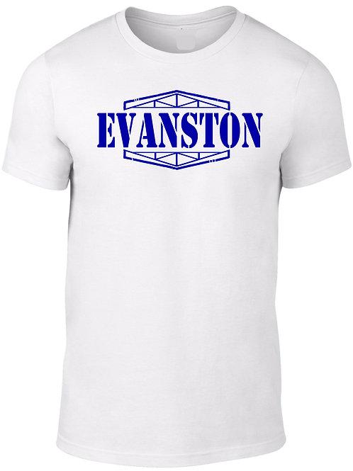 EVANSTON -Navy on White Tee