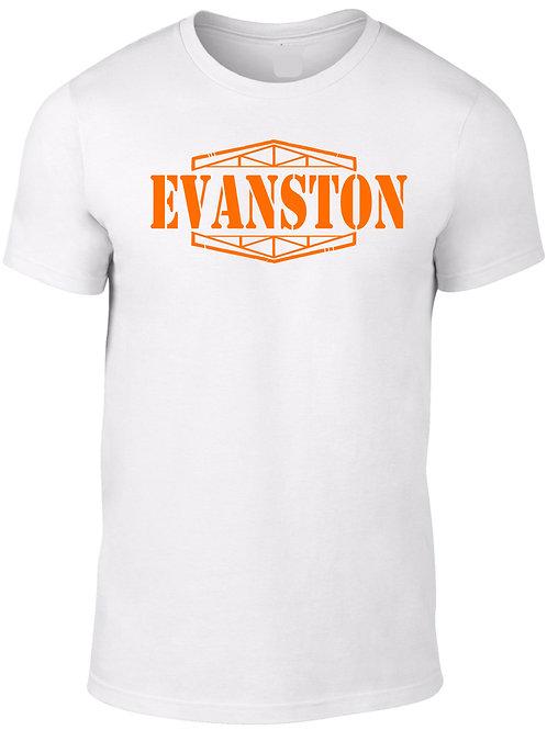 EVANSTON -Orange on White Tee