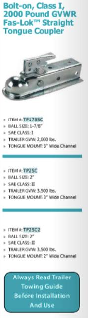 bolt-on, class I, 2000 pound GVWR fas-lok straight tongue coupler