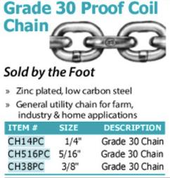 grade 30 proof coil chain