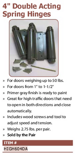 "4"" double acting spring hinges"
