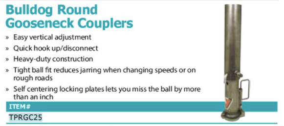 Bulldog round gooseneck couplers