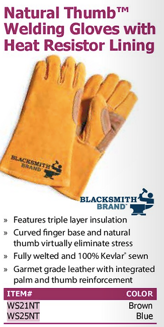 natural thumb welding gloves with heat resistor lining