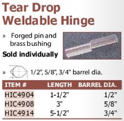 tear drop weldable hinge