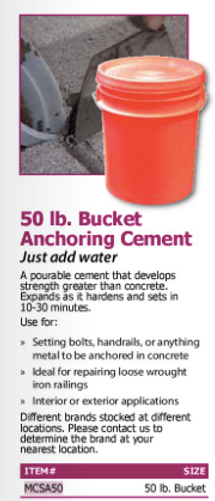 50 lbs. bucket anchoring cement